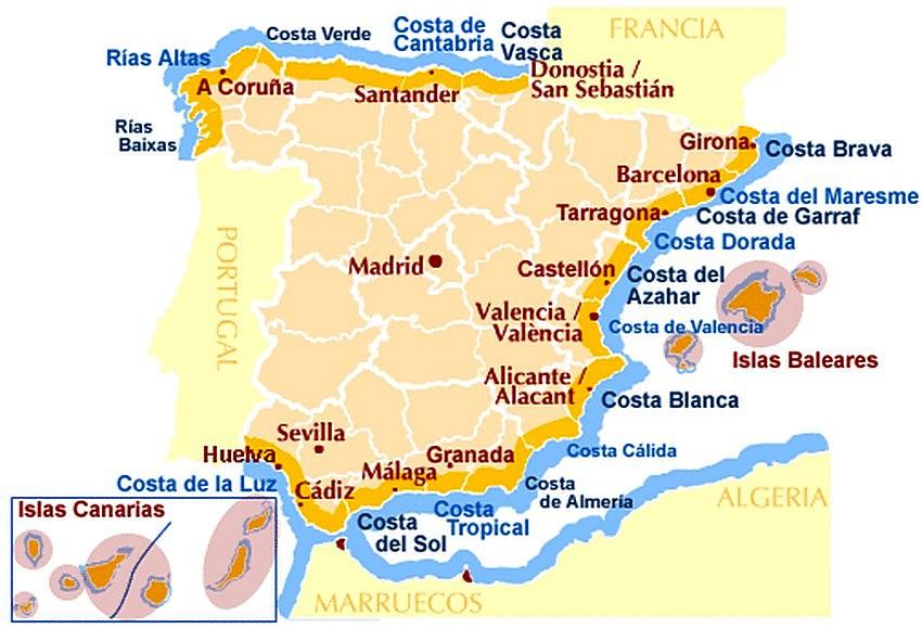Карта испании на русском языке с городами аликанте чартер